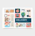 flat global logistic infographic template vector image
