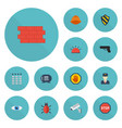 flat icons hardhat safe shield and other vector image vector image