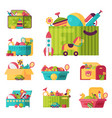 full kid toys in boxes for kids play childhood vector image vector image