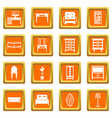 furniture icons set orange vector image vector image