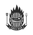 grill bar cutted meat and crossed meat cleavers vector image vector image