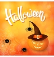 Halloween greeting card with pumpkin wearing hat vector image