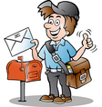Hand-drawn of an Happy Postman vector image