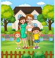 happy family at yard vector image