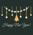 happy new year greeting card design with pears vector image vector image