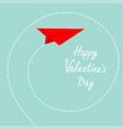 happy valentines day red origami paper plane dash vector image vector image