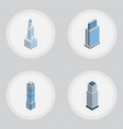 isometric building set of cityscape apartment vector image vector image