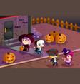 kids wearing halloween costumes vector image
