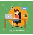 Man makes online purchase on laptop credit card vector image