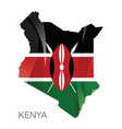 map kenya with an official flag on white vector image