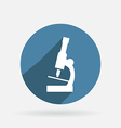 microscope Circle blue icon with shadow vector image