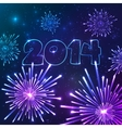 New year fireworks with date greeting card vector image