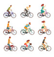people riding bicycles set men and women on bikes vector image vector image