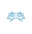 playing with gamepad linear icon concept playing vector image