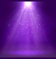 purple spotlights ray fog smoke disco light vector image