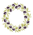round ornament wreath black and green olives vector image vector image