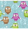 Seamless pattern with cute cartoon owls vector image