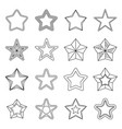 set flat black line star icons vector image vector image