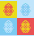 set of abstract silhouettes of easter eggs on a vector image