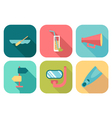 Set of flat summer icons with shadow vector image vector image
