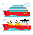 set of ship icons flat style colorful vector image