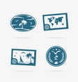 set of tropical vacation icons vector image vector image