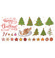 set with vintage christmas decoration vector image