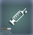 syringe icon On the blue-green abstract background vector image vector image