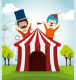 tent circus with clown and presenter vector image