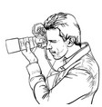 the photographer is at work black and white vector image
