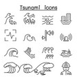 tsunami storm icons set in thin line style vector image
