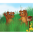 Two young bears near a wooden mailbox vector image