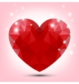 Valentine polygonal red heart vector image vector image