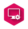 white computer monitor and gear icon isolated with vector image vector image