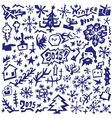 winter Christmas symbols - doodles set vector image