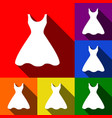 woman dress sign set of icons with flat vector image
