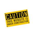 yellow warning caution this website is under const vector image