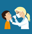 doctor heals throat vector image