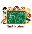 Children behind chalkboard with school supplies vector image