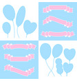 a set of ribbons of banners and balloons with vector image vector image