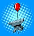 anvil flying balloon pop art vector image
