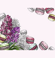 background with macaroon dessert and spring vector image vector image