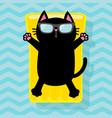black cat floating on yellow air pool water vector image