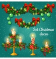 Candlesticks and garlands for Christmas vector image vector image