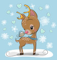 cartoon deer with bird on a blue background vector image