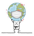 cartoon man carrying sick earth with a vector image
