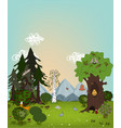 cartoon summer landscape with trees meadows and vector image