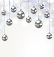 Christmas Silver Glassy Balls on Magic Light vector image vector image