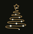christmas tree made with gold chain and pearls vector image