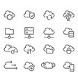 cloud computing line icons set - data sync vector image